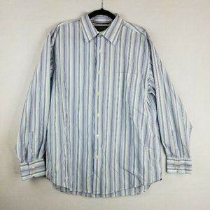 Tasso Ella Striped Button Up Dress Shirt Large